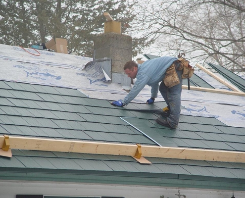 Metal Shingle Roofing progress